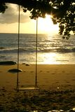 Andaman Sunset. Swing along the Andaman Sea. Sunset On The Andaman Coast. Phang Nga Province Stock Photo