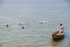Andaman widows learning fishing Royalty Free Stock Image