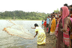 Andaman widows learning fishing Royalty Free Stock Photos