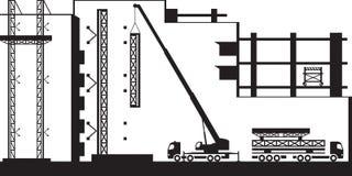 Andamio del montaje de la grúa móvil en el nuevo edificio ilustración del vector