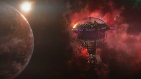 Andando alla stazione spaziale vicino al pianeta ed alla nebulosa illustrazione 3D Fotografia Stock Libera da Diritti