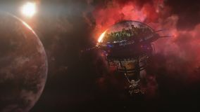 Andando alla stazione spaziale vicino al pianeta ed alla nebulosa illustrazione 3D Immagini Stock Libere da Diritti