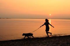 Andando o cão ao longo da praia Fotos de Stock Royalty Free