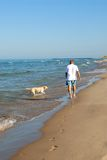 Andando o cão, lago Michigan Fotografia de Stock