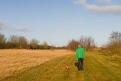 Andando o cão na natureza Fotos de Stock