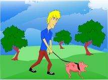 Andando um cão Fotografia de Stock Royalty Free