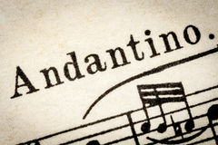 Andantino - slow music tempo Stock Photography