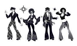 Andaparti Tid Dansare av det andakonturfegis eller diskot Folket i 80-tal, eighties utformar att dansa för kläder vektor illustrationer