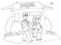 Andare a scuola dei compagni di scuola Immagine Stock