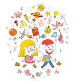 Andare a scuola della ragazza e del ragazzo - imparare l'illustrazione di concetto di istruzione illustrazione vettoriale