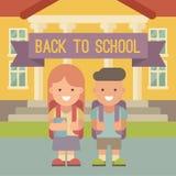 Andare a scuola di due bambini Fotografie Stock