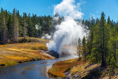 Andare via del geyser della riva del fiume Immagini Stock Libere da Diritti