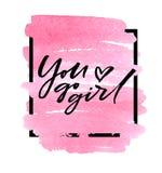 Andate ragazza sul fondo di rosa dell'acquerello Illustrazione di vettore Fotografia Stock