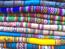 Andean blankets in a market, La Paz, Bolivia. Royalty Free Stock Image