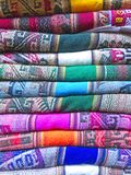 Andean blankets in a street market, La Paz, Bolivia. Royalty Free Stock Photo