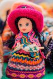 Andean doll crafts - Cajamarca Peru. Handmade and colorful Andean doll, typical of Cajamarca, Peru royalty free stock images