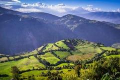 Andean landscape near Riobamba, Ecuador. Green Andean landscape in afternoon light near El Altar volcano in Riobamba region, Ecuador Royalty Free Stock Images