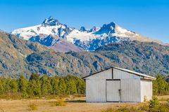Andean Patagonia Landscape, Aysen, Chile. Andes patagonia landscape scene at aysen district, Chilea stock photo