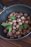 Andean potatoes in a pan Stock Image
