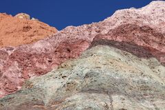 Andean region mountains background. Arid multi-colored mountains (Northern Argentina stock image