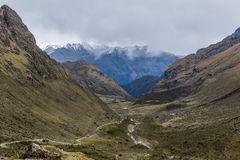 Andean valley Cuzco Peru. Andean valley parto of Salkantay Trekking route at Cuzco Peru stock photography