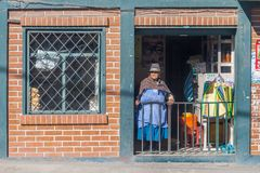 Andean woman   looking out from her small shop Royalty Free Stock Images
