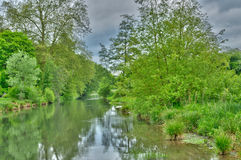 Andelle river in Radepont in Haute Normandie Royalty Free Stock Image