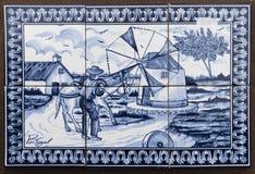 Andenken azulejo Platte von Fliesen als soldin das reizend mittelalterliche Lizenzfreies Stockbild