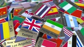 Andenkenmagnet oder -ausweis mit Bangkok-Text und -Staatsflagge unter den verschiedenen Reisen nach Thailand begrifflich lizenzfreie abbildung