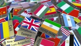 Andenkenmagnet oder -ausweis mit Budapest-Text und -Staatsflagge unter den verschiedenen Reisen nach Ungarn begrifflich stock abbildung