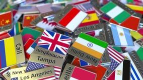 Andenkenmagnet oder -ausweis mit Jakarta-Text und -Staatsflagge unter den verschiedenen Reisen nach Indonesien begrifflich vektor abbildung