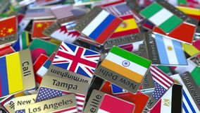 Andenkenmagnet oder -ausweis mit Jekaterinburg-Text und -Staatsflagge unter den verschiedenen Reisen nach Russland begrifflich stock abbildung