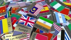 Andenkenmagnet oder -ausweis mit Kuala Lumpur-Text und -Staatsflagge unter den verschiedenen Reisen nach Malaysia begrifflich lizenzfreie abbildung