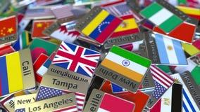 Andenkenmagnet oder -ausweis mit Maracaibo-Text und -Staatsflagge unter den verschiedenen Reisen nach Venezuela begrifflich lizenzfreie abbildung