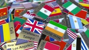 Andenkenmagnet oder -ausweis mit Mexiko- Citytext und -Staatsflagge unter den verschiedenen Reisen nach Mexiko begrifflich stock abbildung