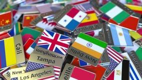 Andenkenmagnet oder -ausweis mit Panama-Stadt Text und Staatsflagge unter den verschiedenen Reisen nach Panama begrifflich lizenzfreie abbildung