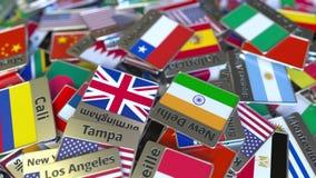 Andenkenmagnet oder -ausweis mit Valparaiso-Text und -Staatsflagge unter den verschiedenen Reisen nach Chile begrifflich lizenzfreie abbildung