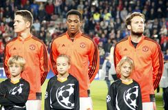 Ander Herrera , Anthony Martial and Daley Blind Manchester Unied Royalty Free Stock Photo
