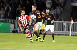 Ander Herrera Manchester Unied and Andrés Guardado PSV Eindhoven Royalty Free Stock Images
