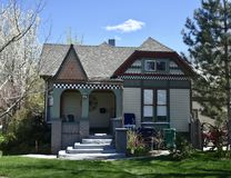 Anderberg House. This is a Spring picture of the Thomas and Beda Anderberg House located in Sandy, Utah in Salt Lake County.  This single-story framed Victorian royalty free stock image