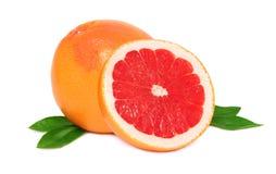 Anderhalf grapefruit met groene bladeren () stock afbeelding