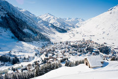 Andermatt in de winter stock afbeeldingen