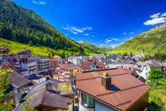 Andermatt village with Swiss Alps in the background,  Switzerland Royalty Free Stock Photography
