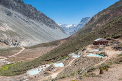 Anderna Hot Springs, Cajon del Maipo Royaltyfri Fotografi