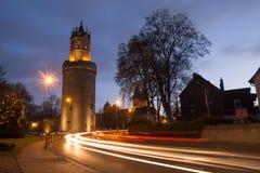 Andernach redondo famoso Alemanha da torre na noite imagem de stock royalty free