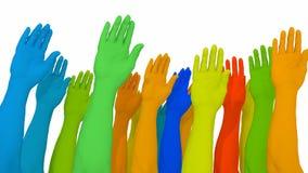 Anders als farbige Arme und Hände auf weißem Verschiedenartigkeitskonzept vektor abbildung