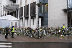 Anders Behring Breivik trial in Oslo. Flowers and security personell outside Oslo District Court during the trial against right wing terrorist Anders Behring Royalty Free Stock Images