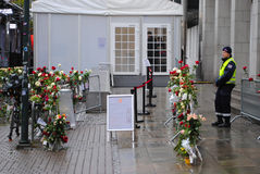 Anders Behring Breivik trial in Oslo. Flowers and security personell outside Oslo District Court during the trial against right wing terrorist Anders Behring Stock Photos