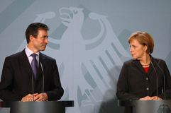Anders Fogh Rasmussen, Angela Merkel Royalty Free Stock Images