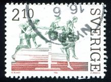 Anders Garderud. SWEDEN - CIRCA 1986: stamp printed by Sweden, shows Anders Garderud, 300-meter steeple-chase record-holder, circa 1986 royalty free stock photo
